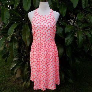J.Crew White Neon Pink Embroidered Floral Dress 8